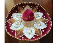 Vintage Pigalle Mariachi Mexican Hat.Original Authentic:Gold, Red White Velvet Sombrero/ Fancy Dress