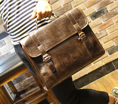 - Men's Business Case Briefcase PU Leather Shoulder Suitcase Messenger Laptop Bag