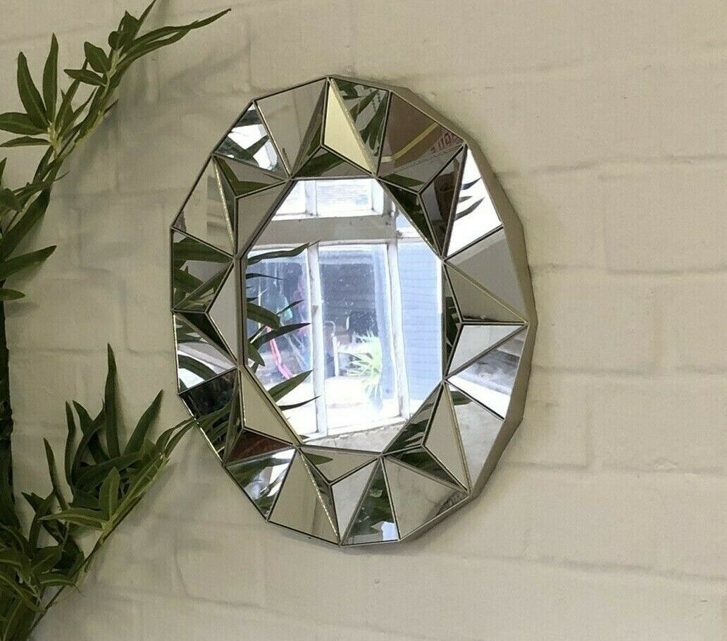 mirror - Champagne Gold Ornate Art Deco Round Wall Mirror Vintage Decorative Geometric