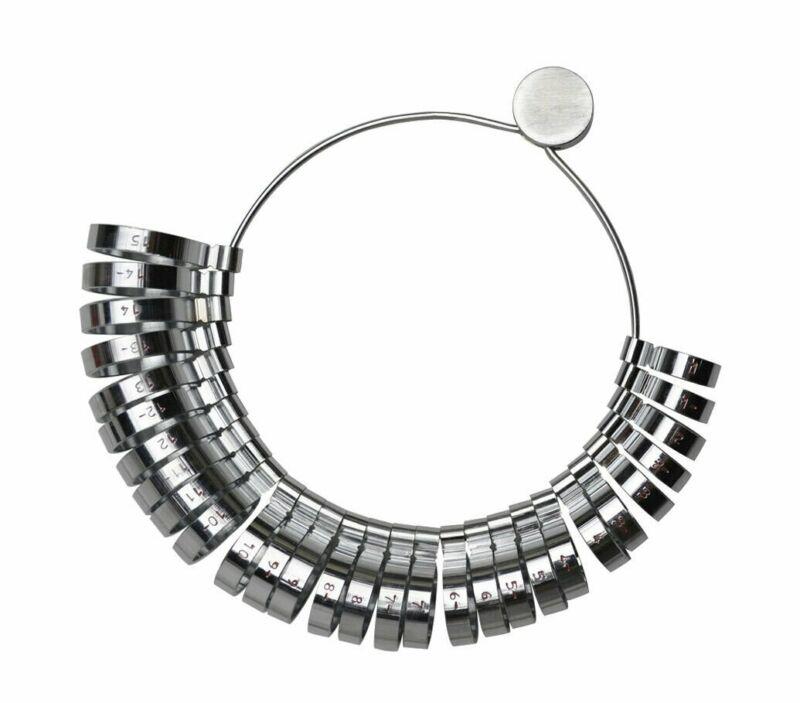 Wide Ring Sizer Metal Gauge Set Sizes Half Sizes 1-15 Jewelry Measuring Tool