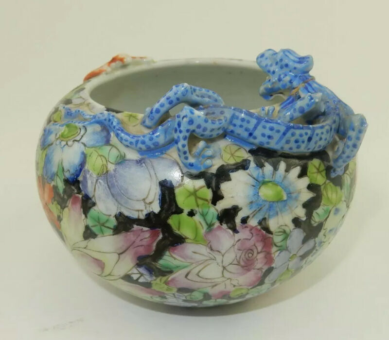 Antique Chinese Brush washer with Dragon  5.5 Inches