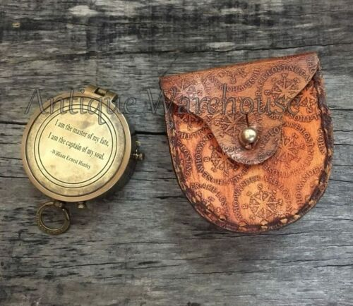 Solid Brass working Compass Vintage Compass With Leather Case Halloween Gift