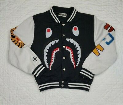 BAPE A Bathing Ape Track Jacket Size S White Sleeve Patch Jacket