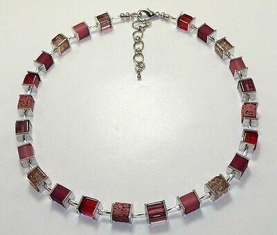 Halskette Würfelkette Cube Würfel Glas crash Lava rot dunkelrot kaminrot 002o