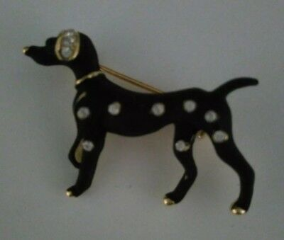 Black And Diamante Dalmation Dog Zinc Alloy Brooch For Scarf, Hat, Jacket etc