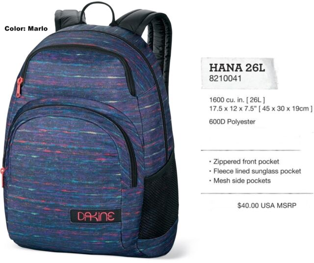 Dakine Hana 26l Backpack Marlo Womens | eBay