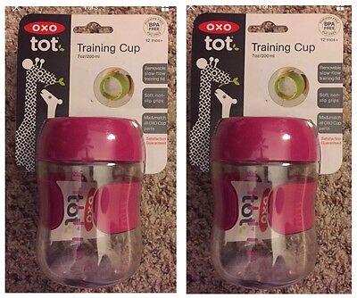 2 OXO tot Training Cup 7 oz Pink 200 ml Soft Non-Slip Grip 12 mos+ BPA Free
