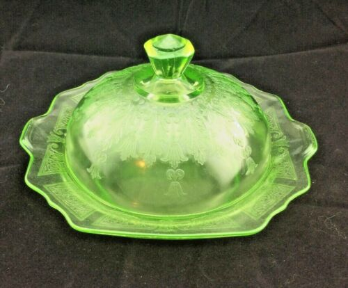 "Butter Dish and Cover. Green ""Princess"" Pattern Depression Glass"