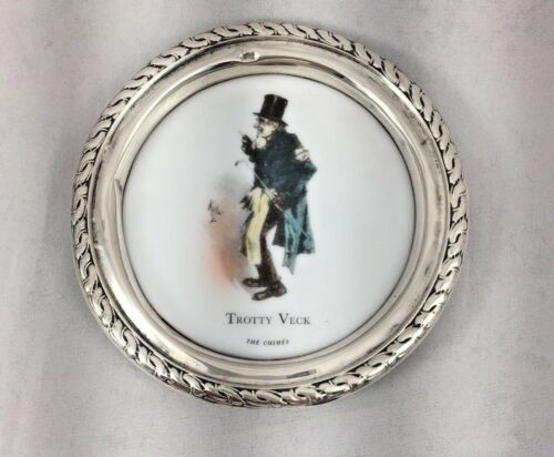 """Amston Sterling Dickens Trotty Vick-The Chimes Sterling Rim Coaster-3 5/8"""""""