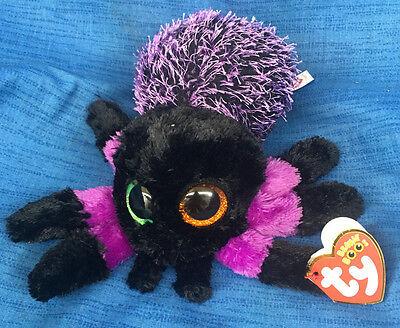 W-F-L TY Boos Creeper Spinne schwarz lila Halloween 15 cm  Glubschi Glitzeraugen