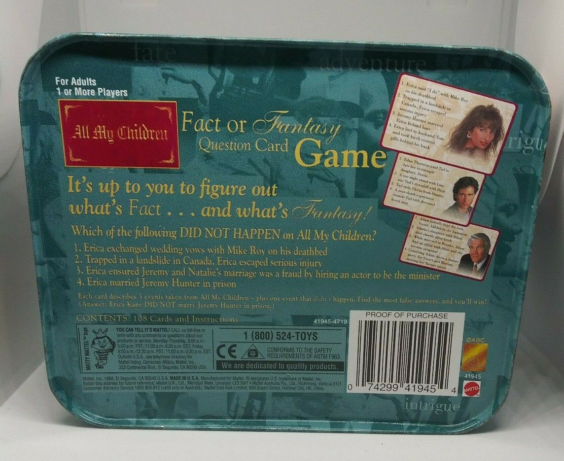 All My Children Fact or Fantasy Question Card Game Mattel 41945