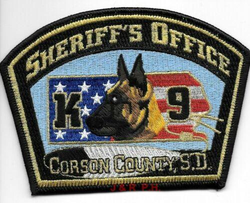 "Corson County Sheriff  K-9, SD (5"" x 3.5"" size) shoulder police patch (fire)"