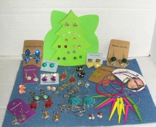 Lot of 34 Pair of Pierced Fashion Costume Earrings