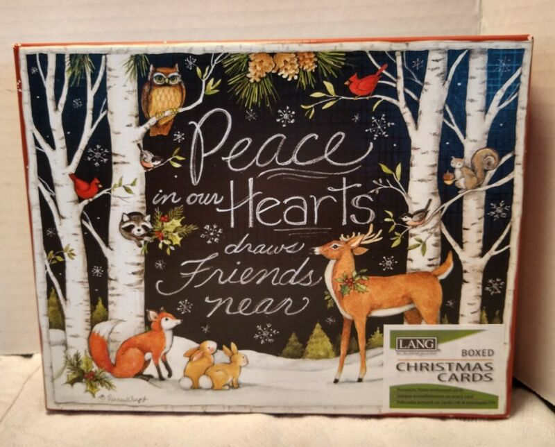 """""""Peace in Our Hearts"""" Reindeer Forest Animals Lang Boxed Christmas Cards 18 Set"""