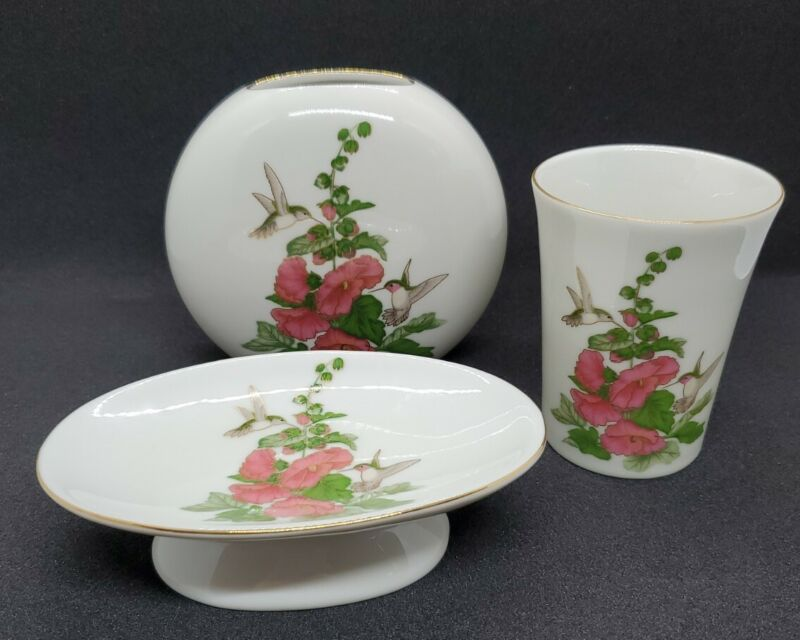Otagiri Hummingbird Hollyhock Japan Soap Dish Tumbler Bud Vase Gold Trim Vintage