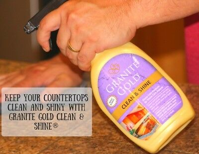 CLEAN & SHINE spraY Cleaner Polish Marble Travertine Quartz GRANITE GOLD GG0047