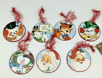 Bethany Lowe Designs Vintage Style Pressed Paper Christmas Disk Ornament set/7