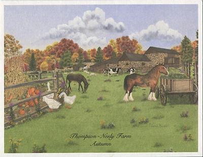 VINTAGE THOMPSON NEELY FARM AUTUMN HORSE COW CLYDESDALE PUMPKINS GOOSE ART CARD