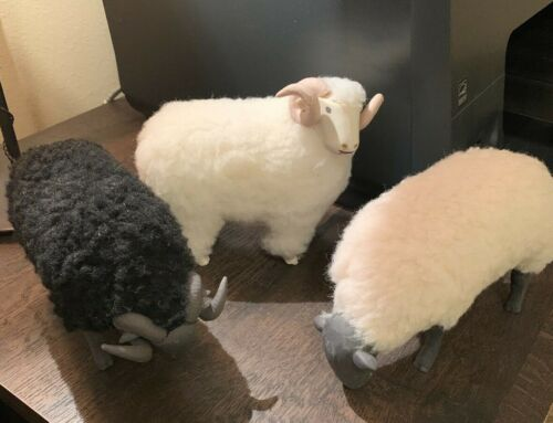 TRIO OF ARTIST SIGNED PORCELAIN SHEEP FIGURINES WITH FUR