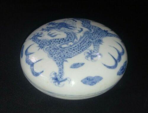 Antique Chinese Blue & White Dragon Porcelain Pastebox-MARK