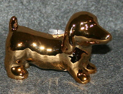 Gold Tone Dachshund Christmas Ornament Benefits Dog Rescue Tree Doxie Wiener