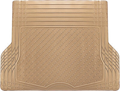 Trunk Cargo Floor Mats for Cars All Weather Rubber Beige Heavy Duty Auto Liners ()