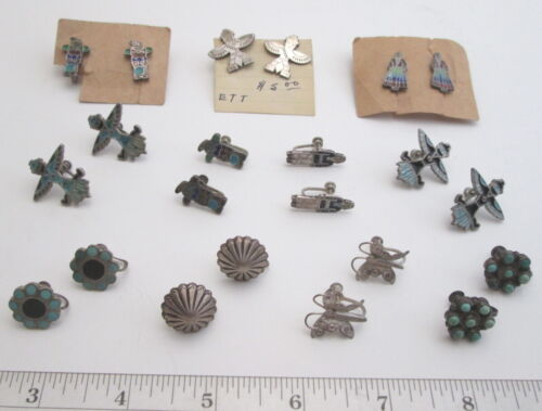 11 PAIRS of SILVER SCREWBACK EARRINGS NAVAJO &  ZUNI DISHTA Old Trading Post