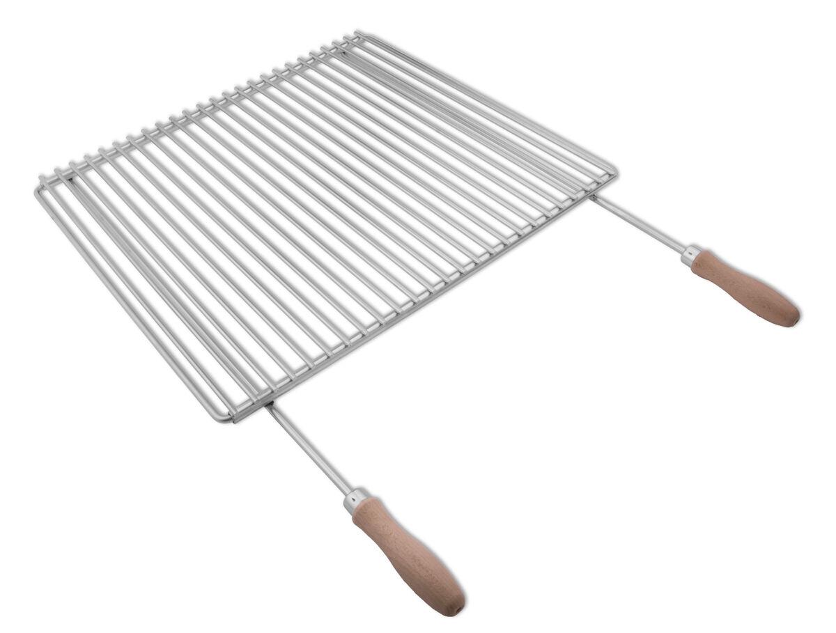 Edelstahl Grillrost Verstellbar 50-60x45cm mit Holzgriffen, Grillrost Rostfrei