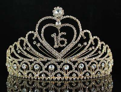 SWEET SIXTEEN 16 BIRTHDAY PARTY RHINESTONE TIARA CROWN W/ HAIR COMBS T1629G GOLD