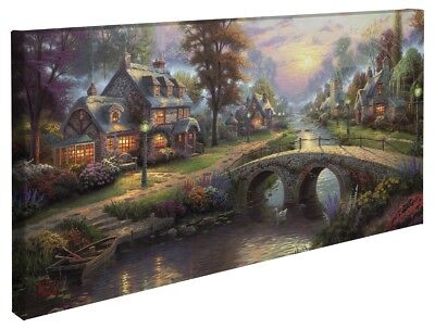 Thomas Kinkade Sunset on Lamplight Lane 16 x 31 Wrapped Canvas