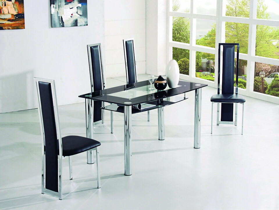 ROVIGO LARGE GLASS CHROME DINING ROOM TABLE AND 4 CHAIRS SET -135 cm- IJ601-818L