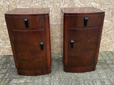 A Fabulous pair of Art Deco Walnut bedside cabinets