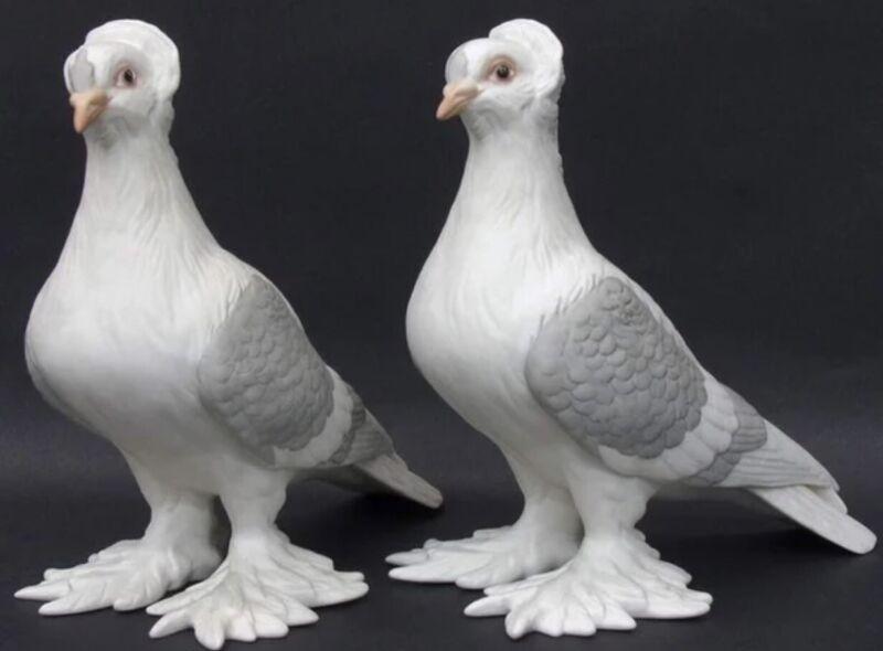 Boehm Porcelain Bird Figurines Tumbler Pigeons PAIR Model #416 Stunning Art