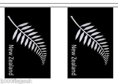 New Zealand Silver Fern Polyester Flag Bunting - 3m long with 10 Flags