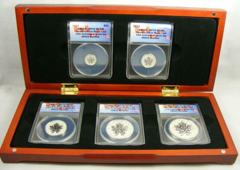 2013 25th Anniversary Canadian Silver Maple Leaf 5 Coin Set ANACS RP70 DCAM