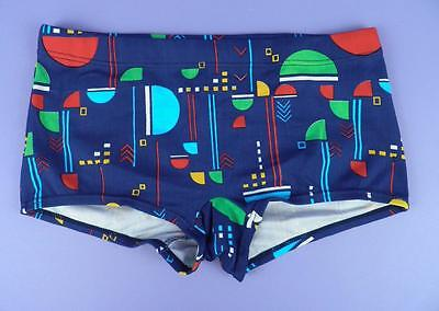 Original Unused Stock, c1970s Puma Hipster Style Patterned Trunks - Blue, ms 1