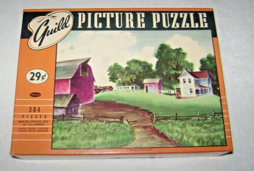 "Vintage Whitman Guild Jigsaw Picture Puzzle ""Minnesota Farmyard"" 18 x 15 1/2"