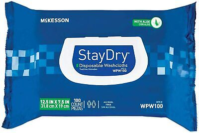 New McKesson Stay Dry Disposable Washcloths Body Bathroom with Aloe Con 50Ct  Dry Disposable Wash Cloths