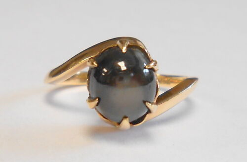 Vintage Large Black Sapphire Solitaire 18K Yellow Gold Ring Size 4.75