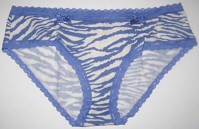 NWT VICTORIA'S SECRET SMALL BLUE WHITE ZEBRA LACE BOW LOW RISE HIPHUGGER PANTIES