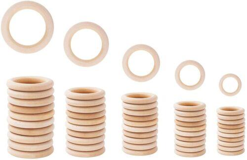 Macrame Making Supplies 50 Pieces Natural Wooden 30 - 70mm Rings Loops Bulk DIY