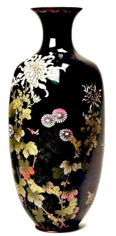 Large Antique Japanese Cloisonne Black Enamel Chrysanthemum Flowers Vase.