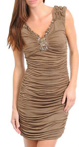 Ladies-Women-Cocktail-Party-Dress-w-Stones-Size-8-10-12-14-S-M-L-BLACK-MOCHA