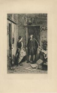 ANTIQUE-ANTIQUARY-SHOP-LOVEL-SANCTUM-BOOKS-WOMAN-MAN-ETCHING-ART-PRINT