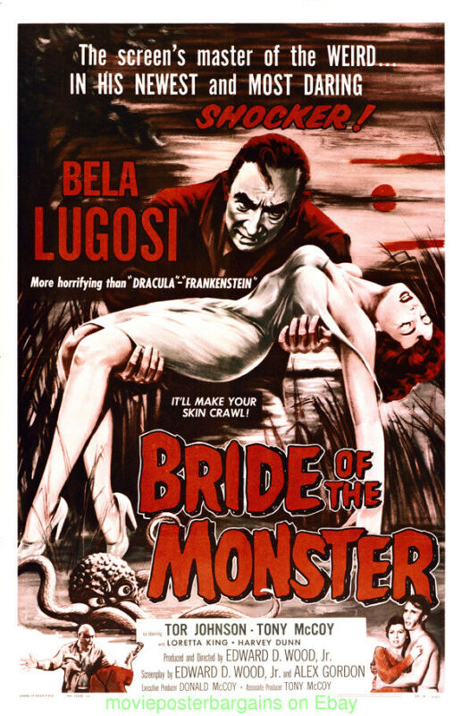 BRIDE OF THE MONSTER MOVIE POSTER 11 BY 17 With Hard Plastic Holder  BELA LUGOSI
