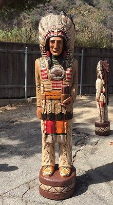 John Gallagher Carved Wooden Cigar Store Indian 7 ft.Tall Fine Detail in Stock