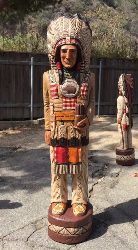 John Gallagher Carved Wooden Cigar Store Indian 7 ft.Tall Statue Fine Details