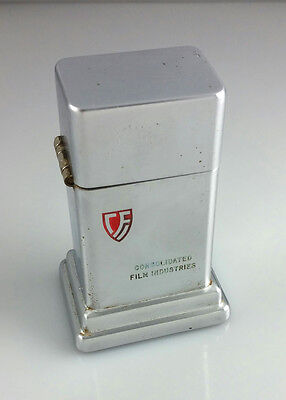 VINTAGE ZIPPO BARCROFT ADVERTISING TABLE LIGHTER - CONSOLIDATED FILM INDUSTRIES