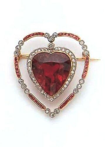 1.88ct Rose Cut Diamond Antique Look 925 Silver Ruby Gemstone Brooch Pin