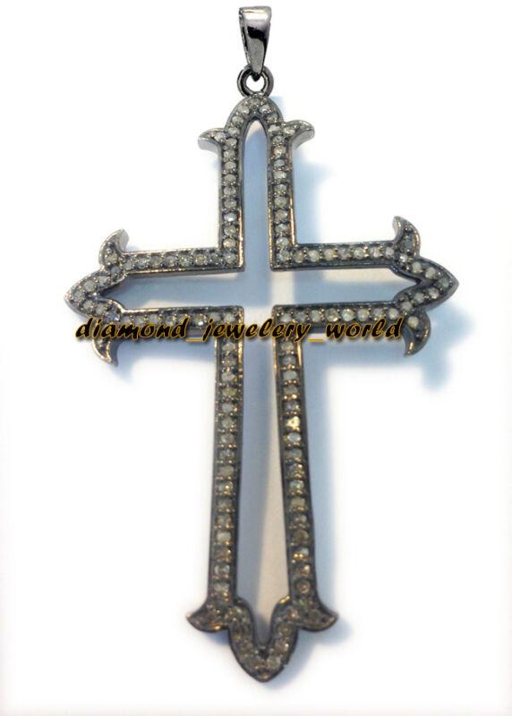 4.65ct Genuine Pave Rose Cut Diamond Silver Vintage Celtic Cross Pendant Jewelry